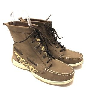 Sperry Top Sider Brown Leather Leopard Boots